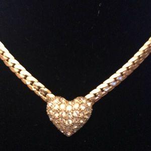 Christian Dior Pave crystal heart choker goldplate